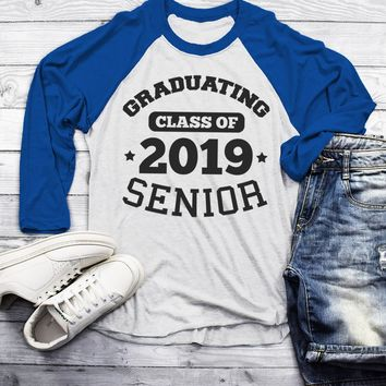 Men's Graduating Class 2019 Senior Raglan Graduation Gift Idea Graduate Shirt 3/4 Sleeve