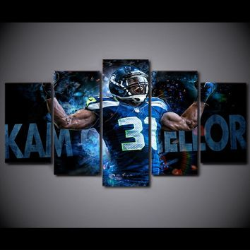 5Piece Wall Art Canvas On The Walls Canvas Art Print Painting Seattle Seahawks Basketball Posters Prints Christmas Home Decor