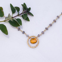 Citrine Necklace - November Birthstone Necklace - Wire wrapped Labradorite necklace