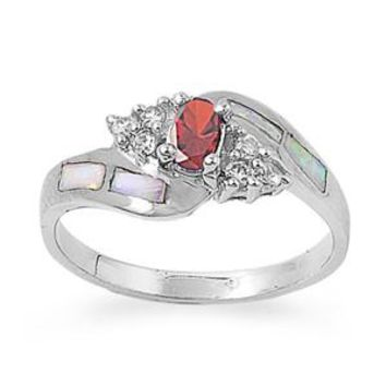 Sterling Silver Oval CZ Garnet CZ Abstract Pattern 9MM White Lab Opal Ring