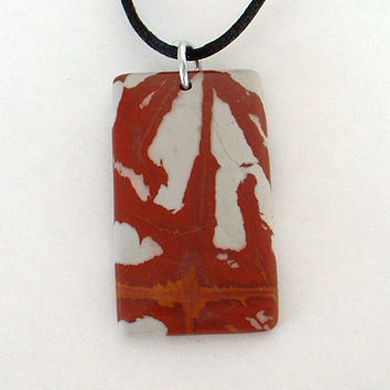 Zebra Jasper Pendant Necklace Reddish Brown Gemstone Jewelry