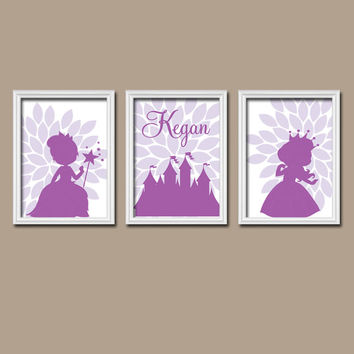 PRINCESS Wall Art Nursery Canvas Artwork Castle Personalized Name Custom Colors Flower Petals Set of 3 Prints Decor Bedroom Crib Baby Three