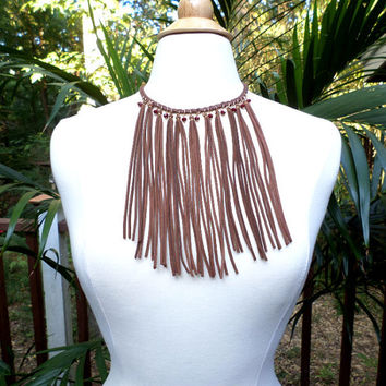 Gold & Brown Braided Suede Fringe Burgundy Faceted Bead Choker Bib Necklace - Long Brown Fringe Beaded Bib Necklace, Choker, Gift