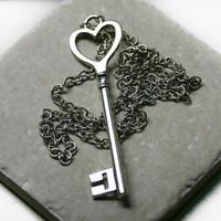 LONG Key to My Heart Necklace in Silver