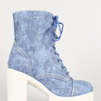 Women's Denim Print Leatherette Lace Up Lug Sole Platform Boot