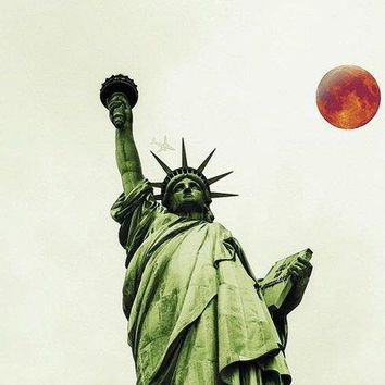 The Fool Blood Moon And The Lady Liberty - Art Print