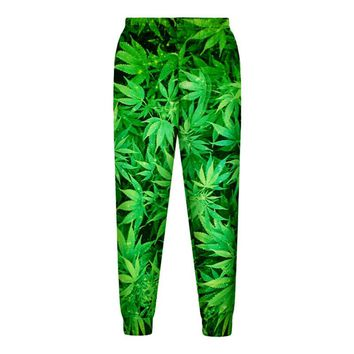 Casual Streetwear  Pants Feuille Green Hemp Leaf Weed 3d Crewneck Sweatpants  Pullovers  Men/Women Tracksuit