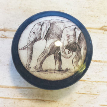 Handmade Elephant Birch Knobs Drawer Pulls, Wildlife Cabinet Pull Handles, Handrawn Safari Design, Dresser Knobs, Made To Order