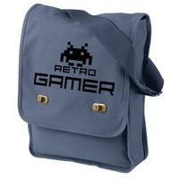Retro Gamer Blue Messenger Bag Space Invaders Video Game Inspired Bag