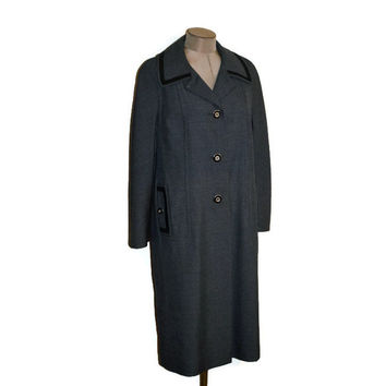 60s Vintage Full Lenght Coat /Youthcraft/ Dark Grey Charcoal