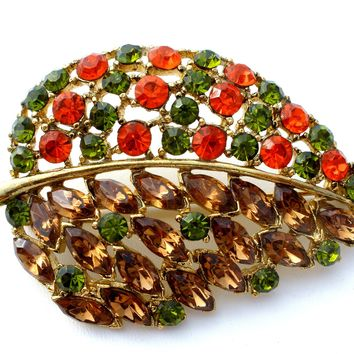 Vintage Leaf Brooch Rhinestone Jewelry Pin