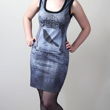 custom Nevermore Edgar Allan Poe The Raven tank dress - smarmyclothes halloween gothic