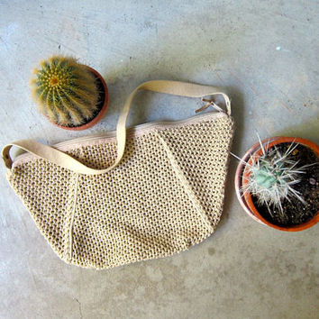 Natural Woven Bag Crescent Shape Purse Modern Beach Bag Shoulder Bag 70s Woven Boho Purse Minimal Fabirc Weave Bag 80s Hippie Summer Bag