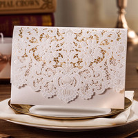 Horizontal Laser Cut Wedding Invitations Cards White Gold Red Embossed 500PCS