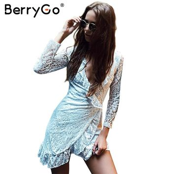 BerryGo Elegant ruffles v neck lace dress women Sexy side lace up long sleeve black summer dress 2017 party dress robe femme