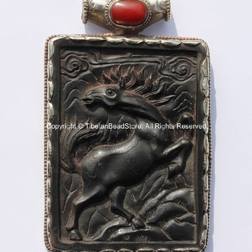 OOAK LARGE Vintage-Style Tibetan Resin Black Horse Statement Pendant with Repousse Floral, Animal Details & Coral Accent- WM4722