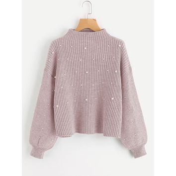 Pearl Embellished Exaggerated Bishop Sleeve Ribbed Sweater Pink