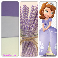 Sofia the first  ,set of 18 tissue paper pom poms and 1 pack of paper  straws/party decor/birthday decorations/paper poms/nursery pompom