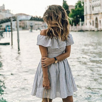 Summer  Striped Backless Off the Shoulder Party Dresses Casual Beach  Vintage Dress Vestidos Mujer