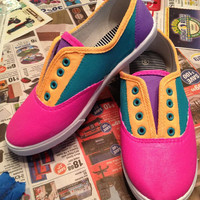 Neon Color Block Canvas Painted Custom Shoes