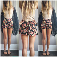 A Black and Roses High Waisted Shorts