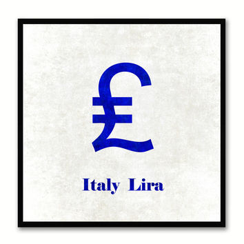 Italy Lira Money Currency White Canvas Print with Black Picture Frame Home Decor Wall Art Collection Gifts