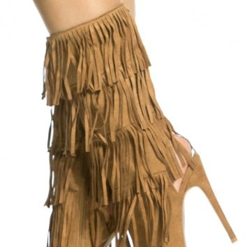 Camel Faux Suede Fringe Peep Toe Boots @ Cicihot Heel Shoes online store sales:Stiletto Heel Shoes,High Heel Pumps,Womens High Heel Shoes,Prom Shoes,Summer Shoes,Spring Shoes,Spool Heel,Womens Dress Shoes
