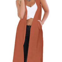 Sleeveless Pockets Long Trench Vest