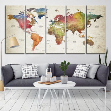 87636 - Large Wall Art World Map Canvas Print- Custom World Map Push Pin Wall Art- Custom World Map Canvas Poster Print- Personalized Wall Art