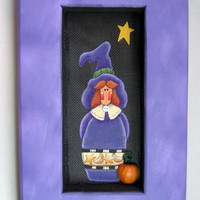 Clearance 50% off, Halloween, Tole Painted, Folk Art, Witch, Framed in Purple