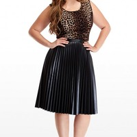 Plus Size Pleated Faux Leather Skirt | Fashion To Figure
