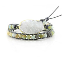 White Druzy and Matte Amazonite Beads Double Wrap Bracelet on Metallic Grey Leather