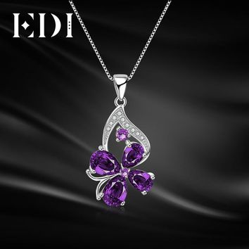 EDI  Woman Amethyst Real Flower Pendants Purple Crystal Clover 16 Inch Clavicle Chains 925 Sterling Silver Necklace Fine Jewelry