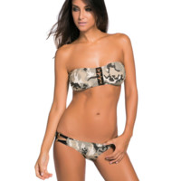 Beach bikini strapless with hollow out the dew backlit camouflage pattern with fission swimsuit