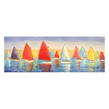 Sailing Regatta | Decorative Wall Hanging Tile 16-in x 6-in