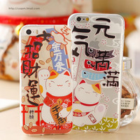 Japanese Lucky Cat Design Ultra Thin Transparent Clear TPU Soft Rubber Skin Case for iPhone 5 5s Phone Case Cover