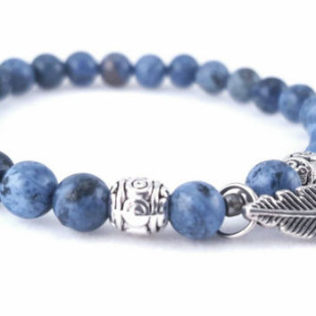 Blue Gemstone Stretch Bracelet // Silver Feather Charm // Semi-precious Gemstones