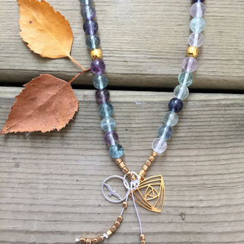 Fluorite Gemstone Gold, Canadian Made, Earth Jewelry, 108 Mala Beads, Yoga and Meditation Jewelry, Bohemian Necklace, Healing Crystals