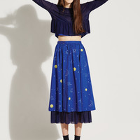 Pleat Mesh Midi Skirt Blue Rocket Print