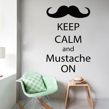 Words Wall Decals Phrase Keep Calm And Mustache On Quote Home Vinyl Decal Sticker Kids Nursery Baby Room Decor kk735