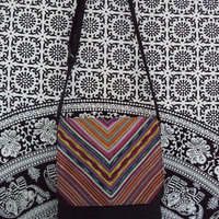 Woven stripe messenger bag by Boho Rain/ ethnic style chevron stripe bag/ black on black bohemian bag/ small bag black and multi color