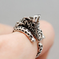 Adjustable Retro Giraffe Animal Rings/ Giraffe Girl's Retro Burnished Animal Ring  - available color in 2color (Antique silver,Antique gold)