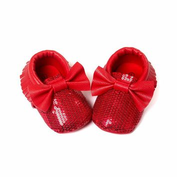 Girls Red Sequin Moccasins, Baby Girls Red Sequin Bow Moccasins, Size 1, 2, 3, Christmas Shoes, Valentines, Day, Baby Shower Gift