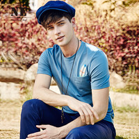 Summer Men's Fashion England Style Simple Design With Pocket Decoration Short Sleeve T-shirts [7951306947]