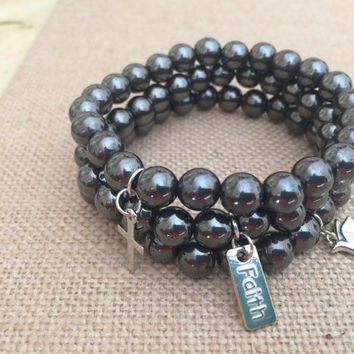 Black Hematite Bead Stretch Bracelets, Set of 3 Bead Bracelets, Hematite Bead & Silver Bracelet, Cross Bracelet, Faith Bracelet, Dove