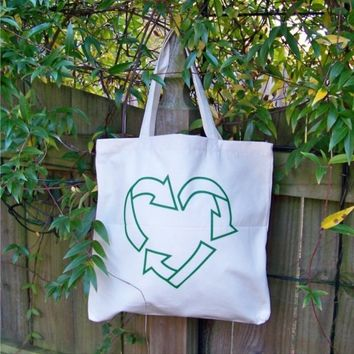Canvas Tote Recycle Love by rctees on Etsy