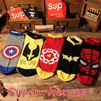 35-42 MARVEL DC Socks Rine Hero Man Batman Spiderman Avengers2 Ironman Wolve Wolf X-men Captain America Comics Superhero SHIELD