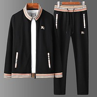Boys & Men Burberry Cardigan Jacket Coat Pants Trousers Set Two-Piece Sportswear