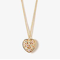 FOREVER 21 Sparkling Floral Heart Necklace Cream/Multi One
