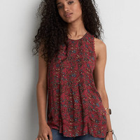 AEO Floral Lace-Up Back Tank , Red